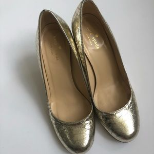 b999411d1 kate spade Shoes - KATE SPADE NEW YORK KAROLINA GOLD SNAKESKIN HEEL
